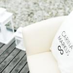 Ein bedrucktes Kissen als Hochzeitsdeko